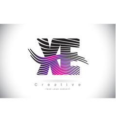 Xe x e zebra texture letter logo design with vector