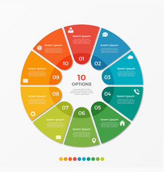 circle chart infographic template with 10 options vector image vector image