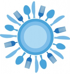 dinner table setting vector image vector image