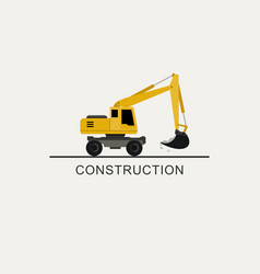excavator works flat style vector image vector image