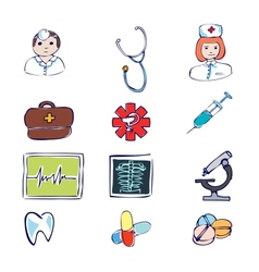 medical and hospital symbols and icons vector image