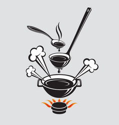 spoon soup ladle and dish vector image vector image