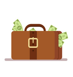 suitcase with money portfolio of a rich man vector image