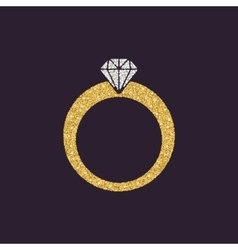 The ring icon diamond and jewelry wedding symbol vector