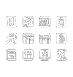 Train station and service flat line icons vector image
