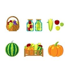 Fharvest autumn food in wicker basket vector image vector image