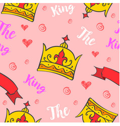 king crown pattern style collection vector image vector image