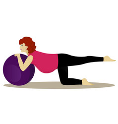 pregnant woman on fitness ball vector image vector image