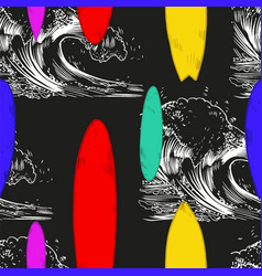 set of surfboard silhouettes in scale vector image