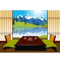 Tea ceremony with clay teapot and two cups vector image