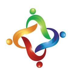 Teamwork swoosh people logo vector image vector image