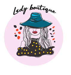 artistic logo with hand drawn lady in hat vector image