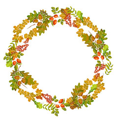 autumn leaves wreath decoration of fall leaf vector image