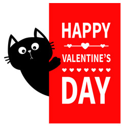 black cat holding big signboard cute cartoon vector image vector image