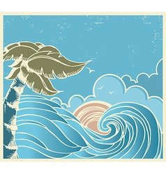 Blue seascape with big wave and sun on old poster vector image