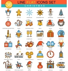Christmas and happy New Year flat line icon vector image vector image