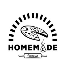 homemade pizzeria logo with oven vector image vector image