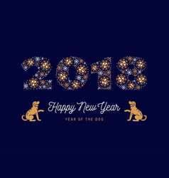 number 2018 made of snowflakes new year poster vector image