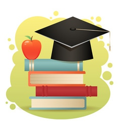 Traditional graduation hat books isolated vector image