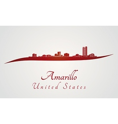 Amarillo skyline in red vector image vector image