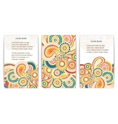 Set of doodle paisley posters for your business vector image vector image