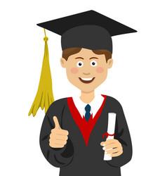 young boy graduate student in graduation cap vector image