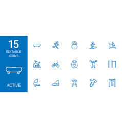15 active icons vector