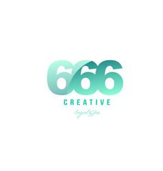 666 green pastel gradient number numeral digit vector