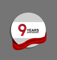 9 years anniversary design in circle red ribbon vector
