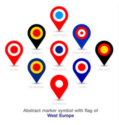 Abstract marker symbol with flag of west europe vector