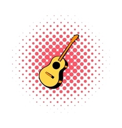 Acoustic guitar comics icon vector image