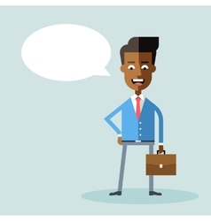African american businessman with briefcase vector