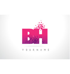 bh b h letter logo with pink purple color and vector image