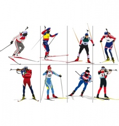 biathlon skiers vector image vector image
