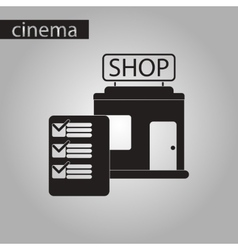 Black and white style icon shop form vector