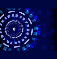 blue cyber security with shield guard technology vector image