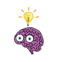 brain with idea bulb color vector image