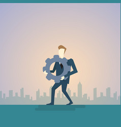 Business man hold cog wheel ponder think strategy vector