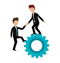 business people with gear teamwork vector image