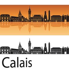 Calais skyline in orange background vector