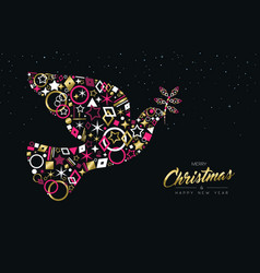 Christmas peace dove made of gold luxury icon set vector