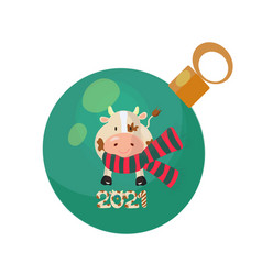 christmas tree bauble decorated with a bull vector image