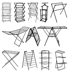 Clothes horse silhouettes vector image
