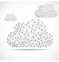 clouds of lines and dots abstract polygonal vector image