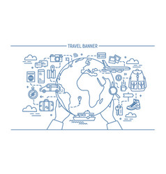 Concept of travel and tourism horizontal vector