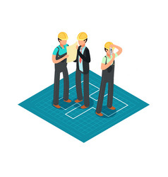 Construction engineers and builders in yellow vector