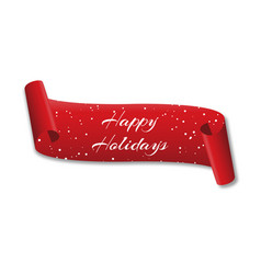curved red banner happy holidays with snow vector image