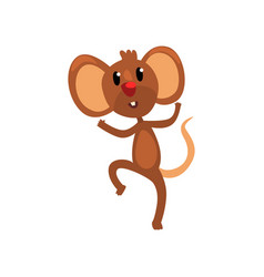 Cute brown happy mouse jumping funny rodent vector
