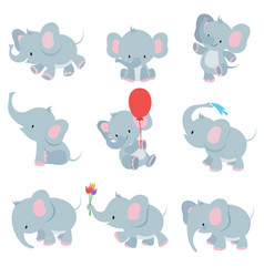 Cute cartoon baby elephants animals african vector