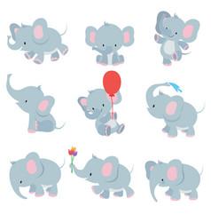 Cute cartoon baelephants animals african vector